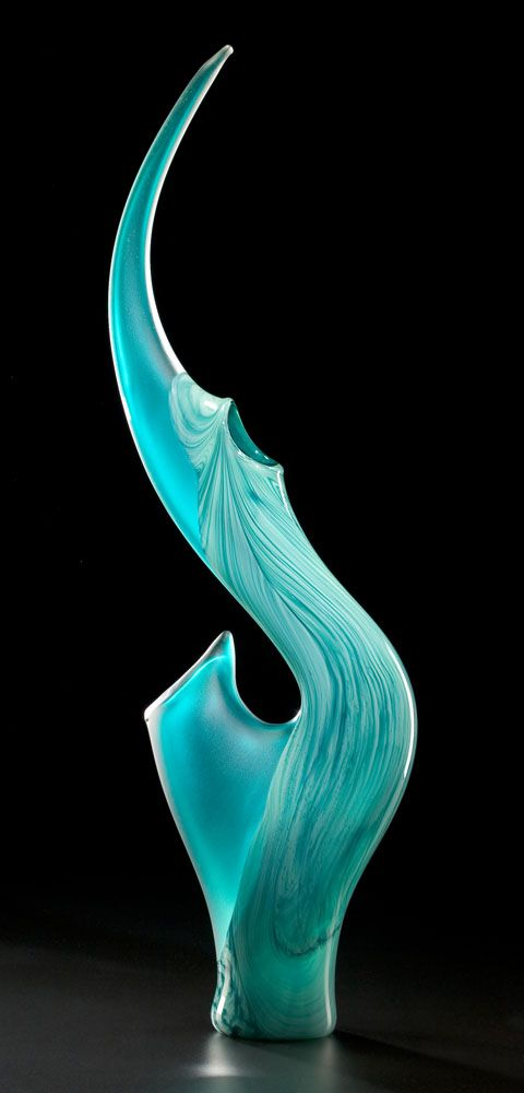 This artist shows form through what looks like glass. The way the artist created this, looks like water flowing. It's really creative.