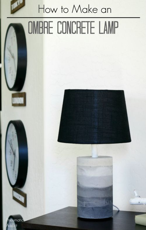 Learn how to make a cool, gray ombre concrete lamp. The perfect concrete project for beginners!