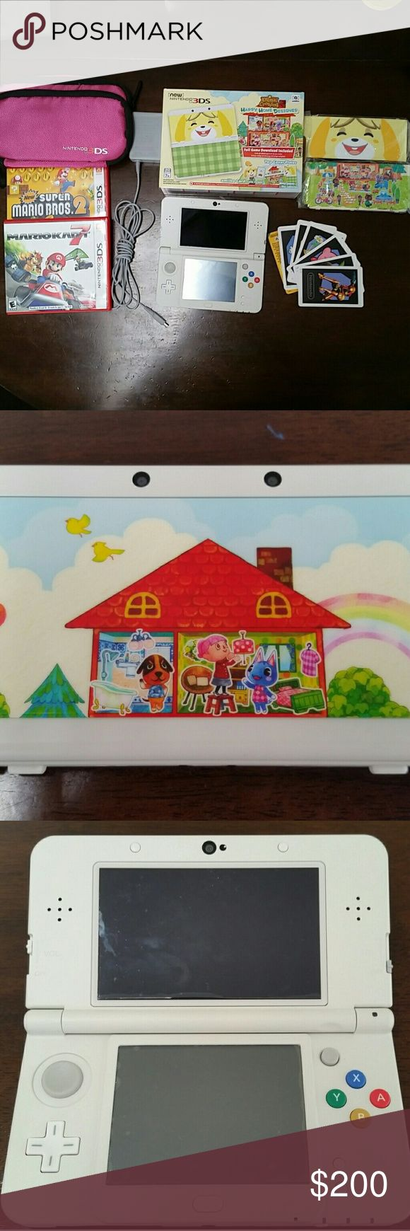 New Nintendo 3DS Animal Crossing: Happy Home Happy Home Designer White Handheld System  Like New. It is a used system so the happy home designer game is NOT included. I already redeemed the code. I am including a charging cable with it (the system does not normally come with one...) also a pink carrying pouch.The system comes with both sets of original happy home designer faceplates. Original packaging. Games: Gardening Mama, Cake Mania, Animal Doctor, Movie Star, Mario Kart 7, New Super…