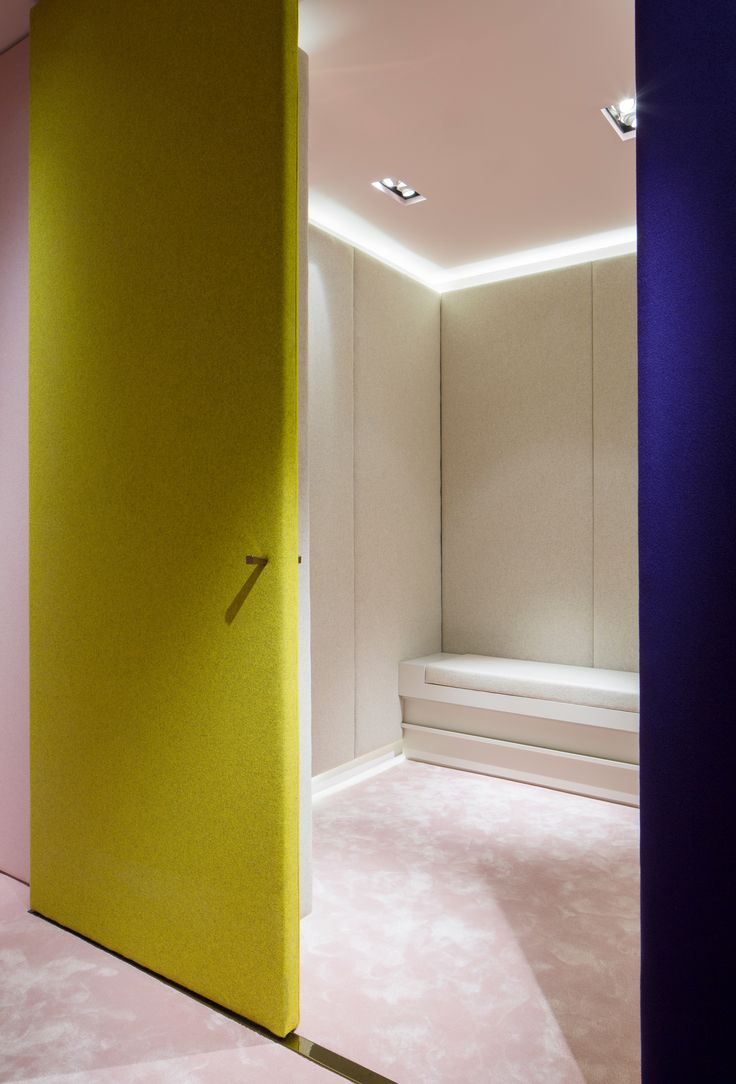 Roksanda Ilincic's velvety store. The architects at Adjaye Associates were inspired by the brand's fashion collection when designing Roksanda Ilincic's flagship store in London. The result is  top to ceiling velour qualities in pastels and deep hues.Photo by Ed-Reeve.