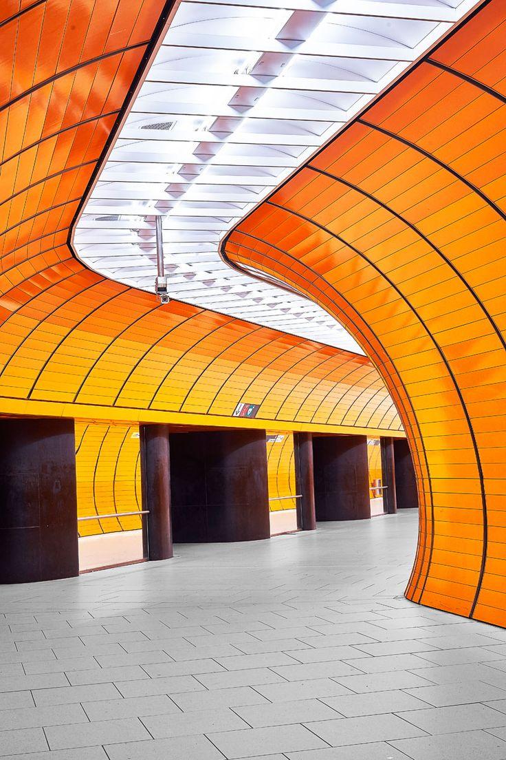 Orange subway station Marienplatz in Munich