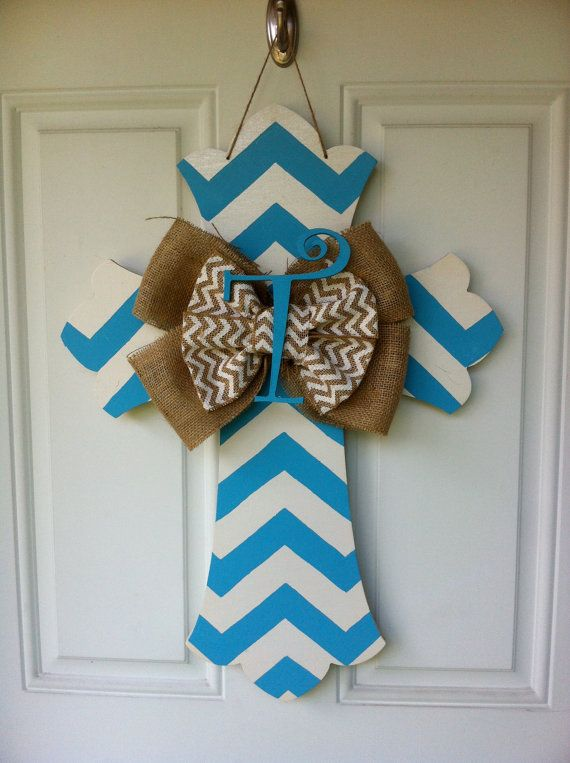 Wooden Chevron Cross with Burlap Bow and by FromBhamWithLove