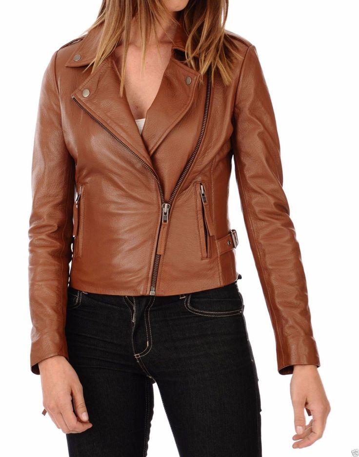 Women's Genuine Lambskin Leather Motorcycle Slim fit Biker Leather Jacket | eBay