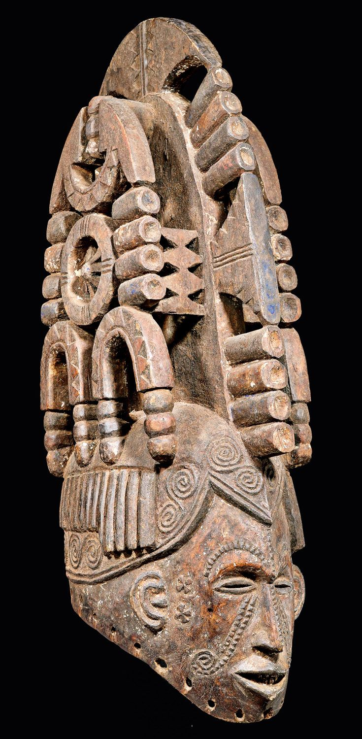 Africa | 'agbogho mmuo' maiden mask from the Igbo people of Nigeria | Wood, remains of paint