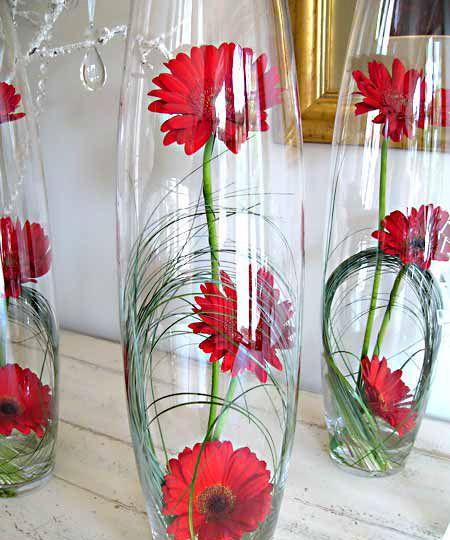 Bullet Vase with gerberas