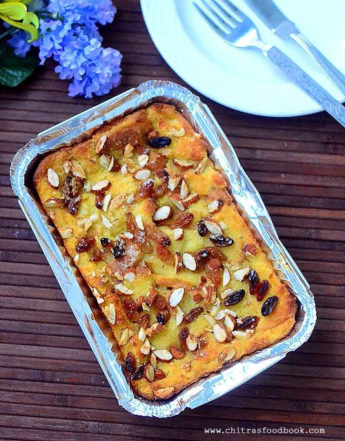 Eggless bread pudding recipe - How to make custard bread pudding without eggs