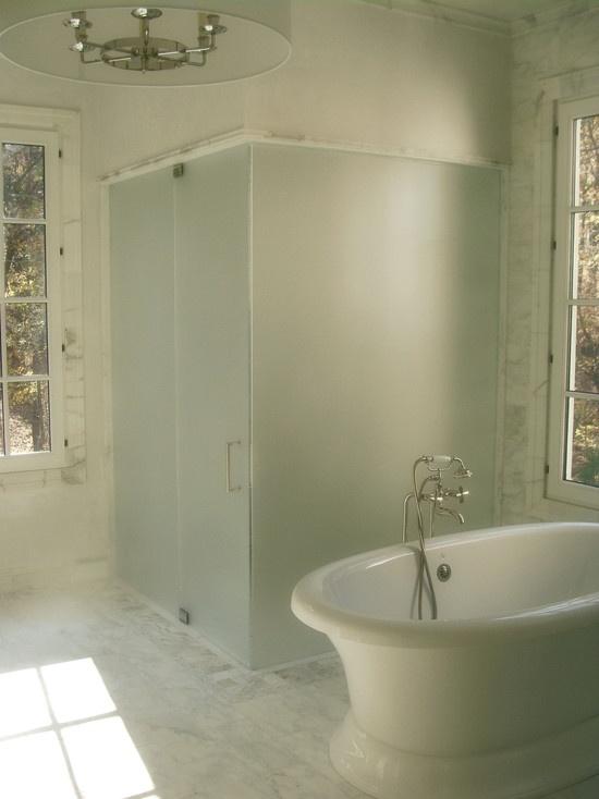 frosted shower door brushed nickel hardware