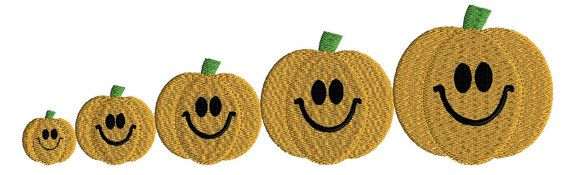 Happy Face Pumpkins filled stitch five sizes by AdelaidesCorner