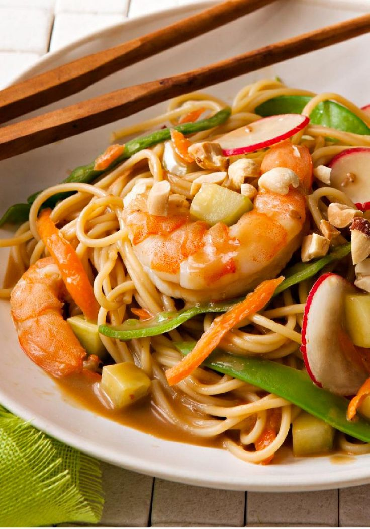 Asian Shrimp & Vegetable Pasta Stir-Fry – Toasted sesame dressing, peanut butter, and soy sauce give this delicious shrimp and vegetable pasta stir-fry its Asian-inspired flavor.
