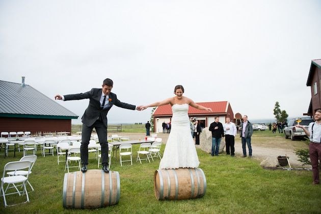 Well...I've never seen a bride and groom do THAT before! Looks like fun!