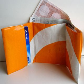 Shopping Bag Wallet - Such a great idea to do with those bags that get a whole in them.