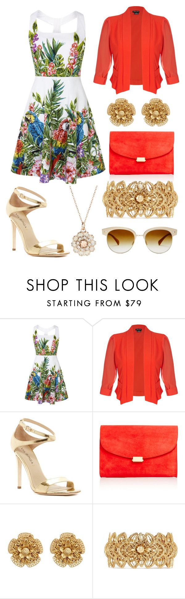 """Floral Golden"" by alphashe on Polyvore featuring City Chic, Via Spiga, Mansur Gavriel, Miriam Haskell, Accessorize and Oliver Peoples"