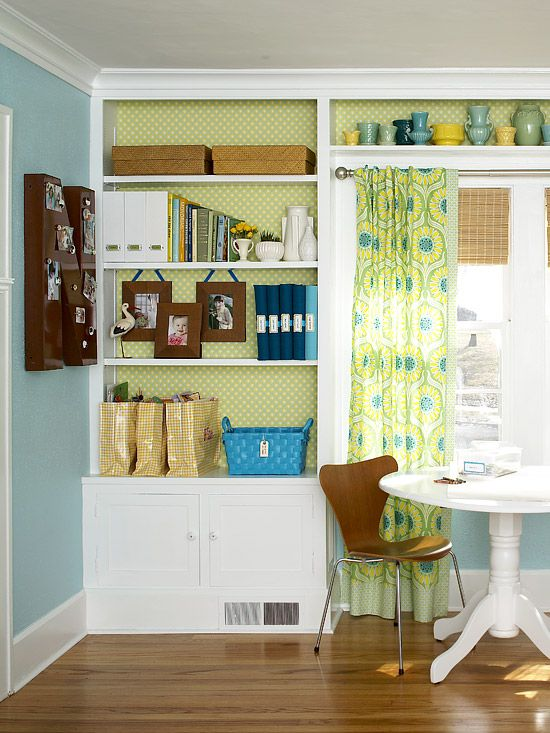 Boost the storage appeal of built-in wall units with organization aids, such as baskets and boxes.