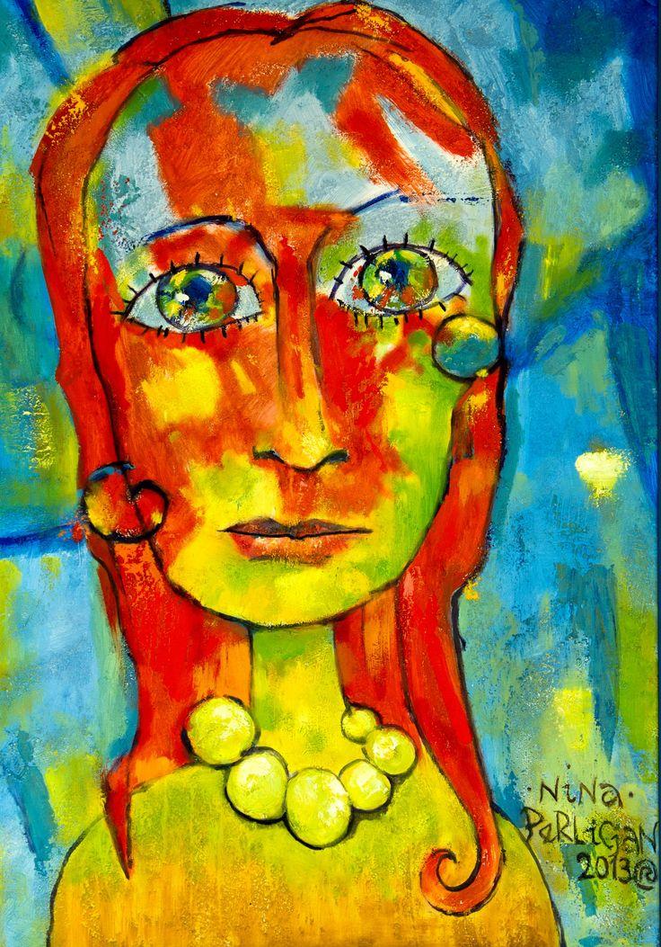 Tomasz Perlicjan: Nina (7456) Rok: 2013 Technika: olej na płótnie Format: 100×70 cm