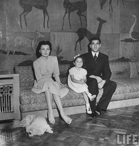 princess fawzia with her husband shah iran and her daughter shahinaz pahlavi