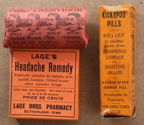 Early 1900s-1920s VINTAGE QUACK MEDICINE PILL  BOXES~KICKAPOO~PEFFER'S~LAGE'S   Antique Bottle Collecting   Pinterest    Medicine, Pill boxes and 1920s