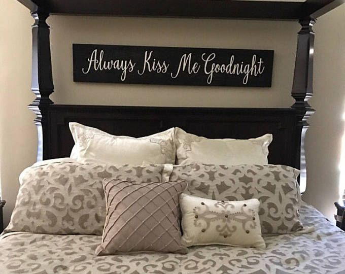 Wooden Sign Always Kiss Me Goodnight Sign 11 X60 Rustic Decor