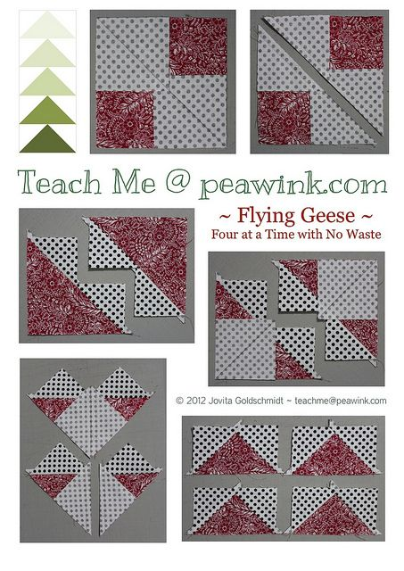 this is a really good tutorial for Flying Geese -- teachmepeawink.blogspot.be/2012/06/flying-geese-four-at-time-no-waste.html#
