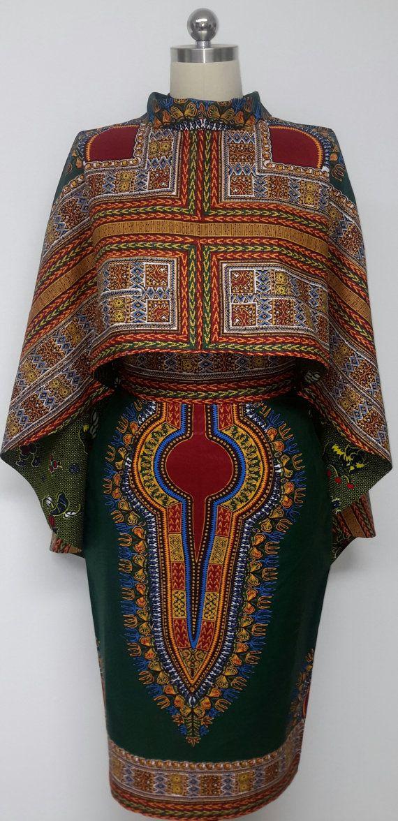 Dos piezas reversibles versátil Hi-Lo capa y falda lápiz. Impresión de África. Dashiki. Hecho a mano.