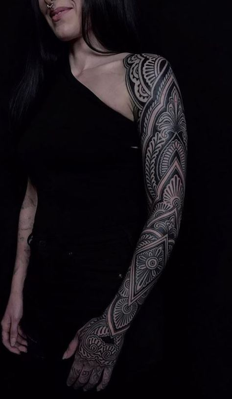 9e8b75b4a Black & Gray Ornamental Sleeve Tattoo | art | Sleeve tattoos, Jagua ...