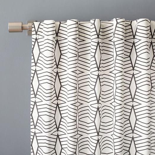 Cotton Canvas Diamond Stripe Curtain - Stone White/Slate   west elm