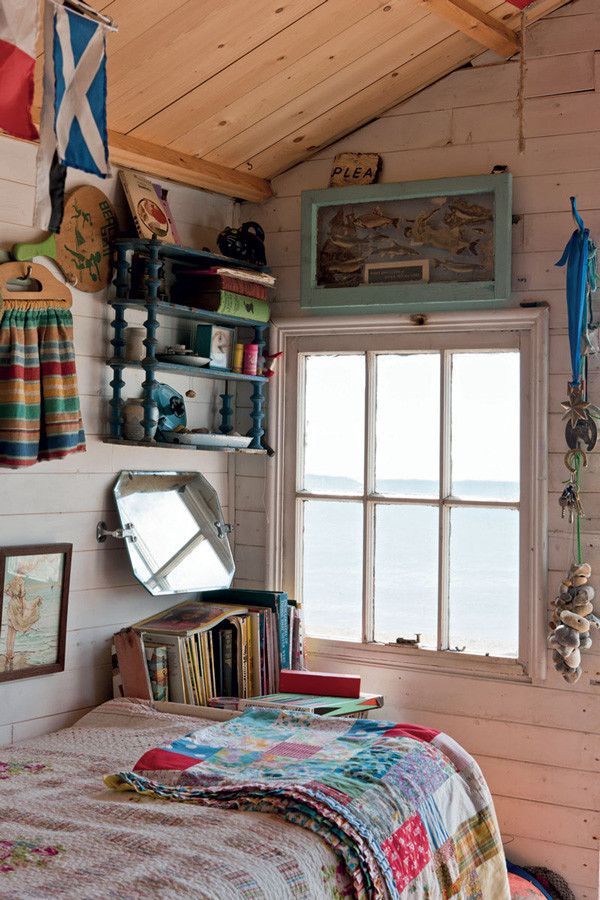 Beach hut interior or garden shed