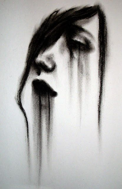 Smudginess of charcoal near-perfectly captures the fading, washed out mascara. Additionally, the simple addition of lines help give form to the face of a woman using positive/negative space.
