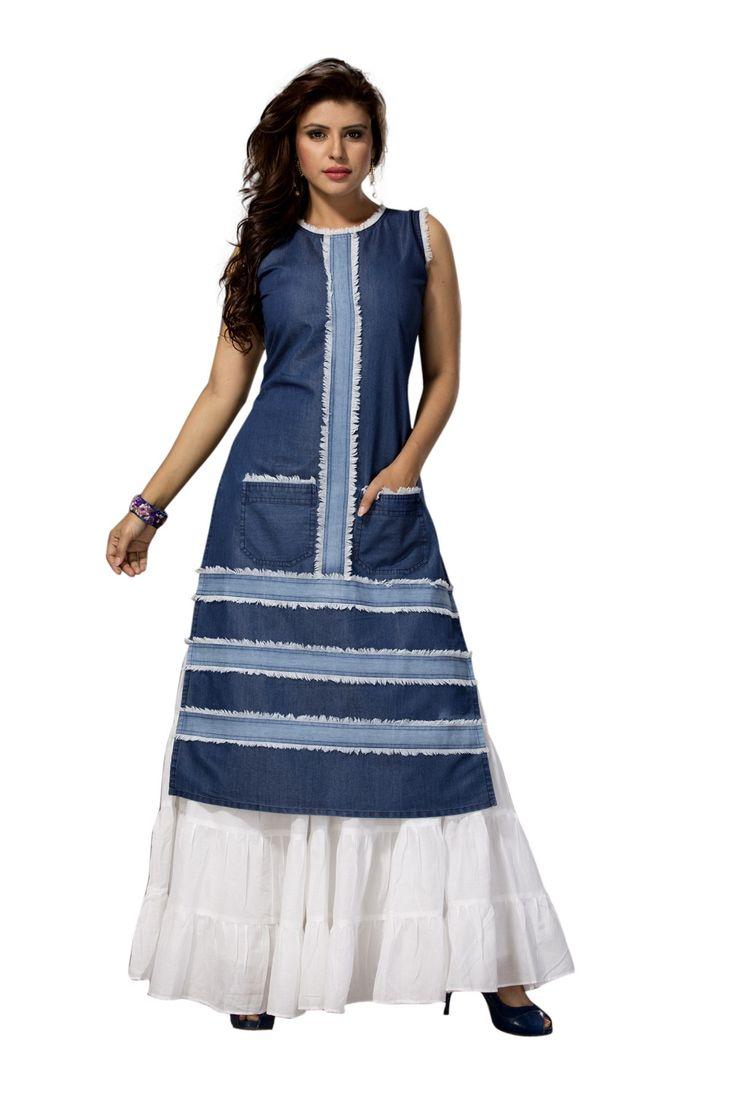 Dessigner blue denim kurti with front pockets