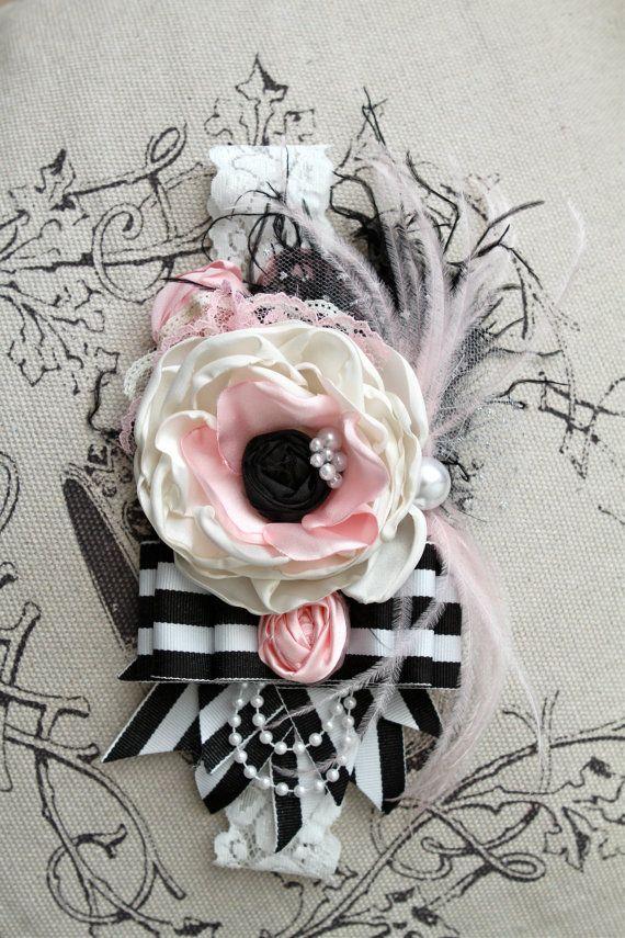 Anemone Inspired Shabby chic black white and pink striped headband