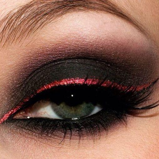 black smokey eye with red liner