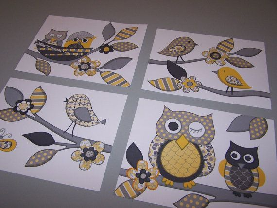 Yellow gray nursery owls birds wall art baby nursery kids art  set four 8x10 prints. $22.00, via Etsy.