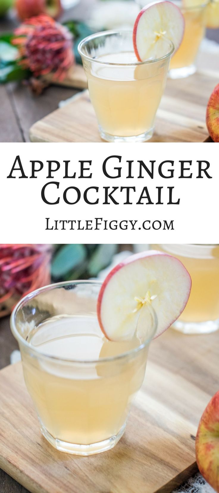 A lovely crisp cocktail that's perfect for fall, Apple Ginger Cocktail! Get the Recipe at Little Figgy Food via @LittleFiggyFood