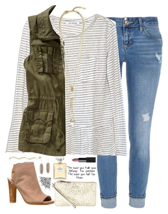 """""""be with someone that loves you so much, they'll put you on their shoulders just so you can get a better view."""" by kaley-ii ❤ liked on Polyvore featuring River Island, Gat Rimon, Old Navy, Vince Camuto, Stuart Weitzman, NARS Cosmetics, Kate Spade, Chanel and Kendra Scott"""
