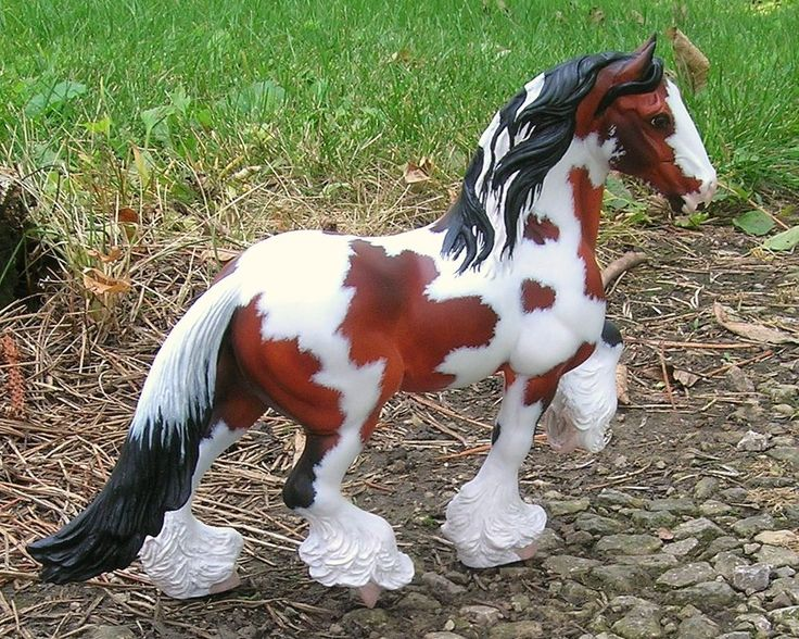 OOAK Custom Breyer Classic Shire to Bay Pinto Vanner CM model horse New Tail!