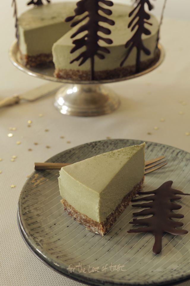 raw white chocolate and matcha cheesecake - dairyfree