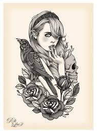 Resultado de imagen para tattoo girl illustration