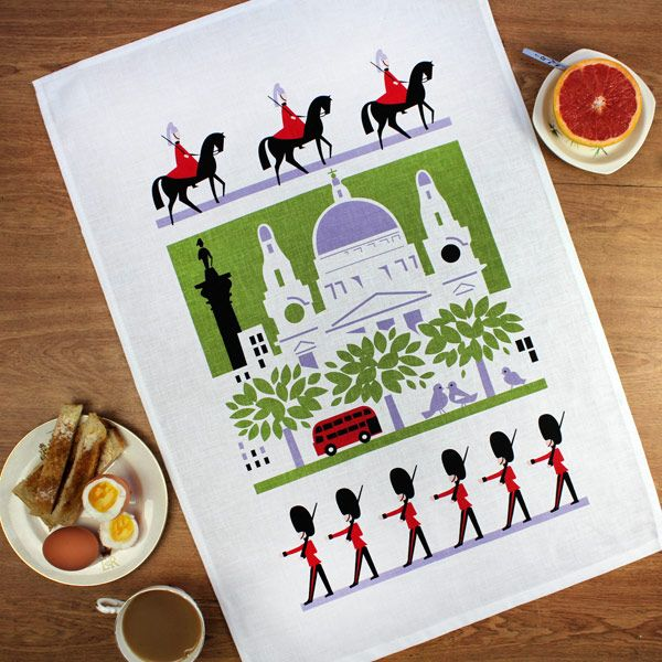 Scenic London tea towel by Daphne Padden (1927-2009) - Designer tea towels from ToDryFor.com