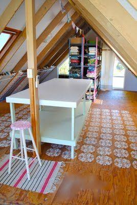 I totally want a cabin with workspace upstairs like this.