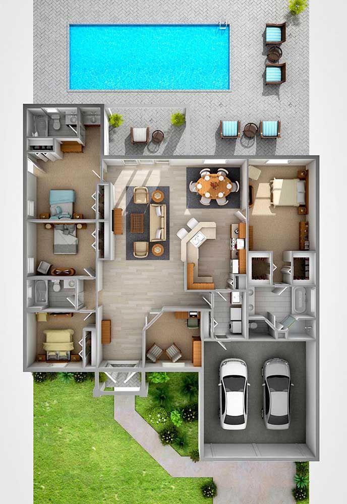 Plantas De Casas Modernas 59 Modelos Inspiradores Para Conferir Projetos De Casas Simples Maquetes De Casas Projetos De Casas Modernas
