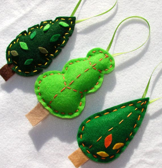 Cute green tree ornaments. Soft and plush.