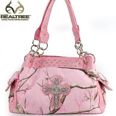 Click Here and Buy it On Amazon.com $41.99 Amazon.com: REALTREE Western Camouflage Rhinestone Gemstone Small Round Rivet Studded Cross Detailed Tote Satchel Handbag Purse with Chain Shoulder Strap and Side Pockets in Camo and Light Pink: Clothing