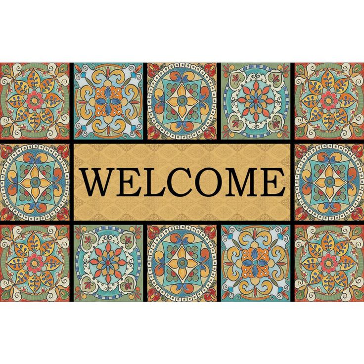 Welcome Tiles Mediterranean Flair 23 in. x 35 in. Recycled Rubber Door Mat, Multi