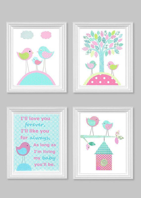 I'll Love You Forever Aqua and Pink Bird by SweetPeaNurseryArt, $42.00