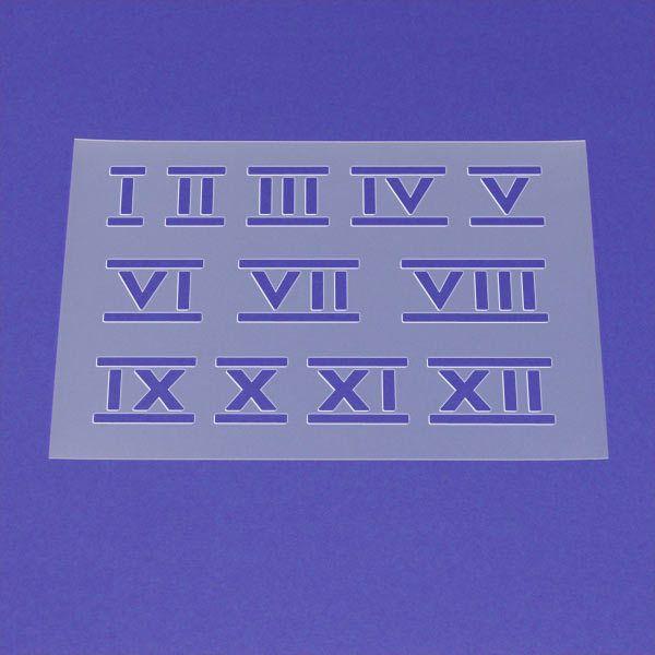 Schablone Zahlen Satz Römisch 1 bis 12 - ME01 von Lunatik-Style via dawanda.com