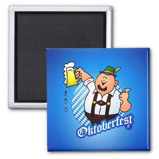 Oktoberfest - man in lederhosen magnet.  #oktoberfest #magnet #lederhosen #gift #gifts giftideas #Zazzle #Cardvibes #Tekenaartje #SOLD