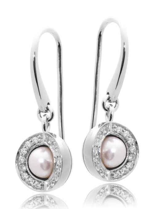 Joy de la Luz | Earrings cz silver/pearl