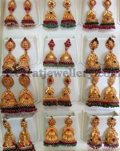 Jewellery Designs: Multiple Jhumkas in Antique Work
