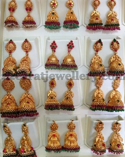 Jewellery Designs: Multiple Jhumkas in Antique Work