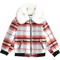 Mini girls red check faux fur collar bomber - baby girls coats / jackets - mini girls - girls