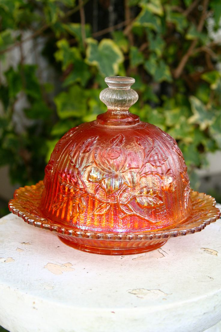 Carnival Glass Covered Butter Dish $45